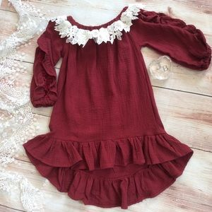 Other - Boutique Girls Red Gauze dress with lace trim